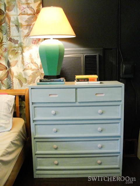 grey dresser, pink dresser, DIY dresser, turquoise lamp, teal lamp