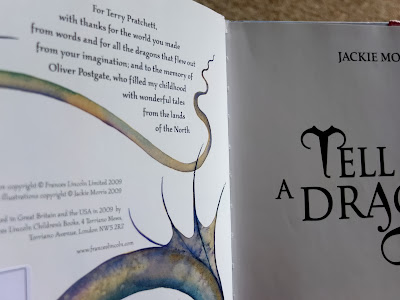 Dedication to Terry Pratchett in Tell Me a Dragon by Jackie Morris
