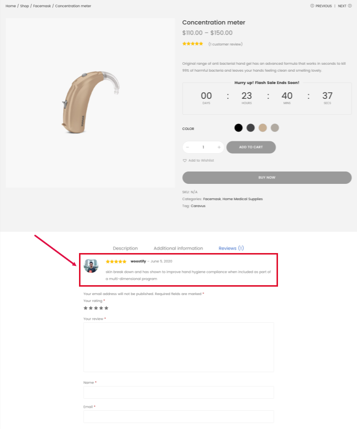 example of a product review on the product page