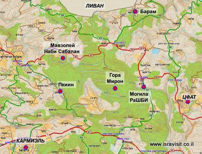 Карта экскурсии по Верхней Галилее: Каббала, Друзы и гора Мирон. Гид в Верхней Галилее Светлана Фиалкова