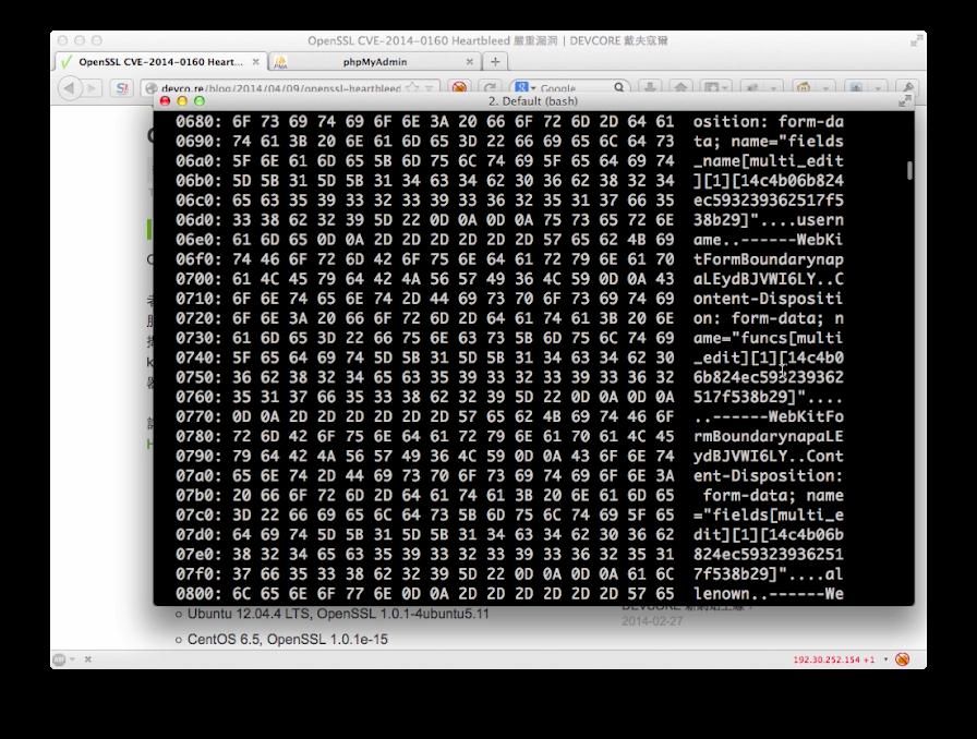 利用 ssltest.py 抓出記憶體中的資料,其中包括 HTTP 傳輸內容。