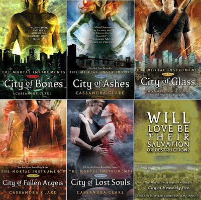 Series Review: The Mortal Instruments, By Cassandra Clare, Cover Art, Book 1: City of Bones, Book 2: City of Ashes, Book 3: City of Glass, Book 4: City of Fallen Angels, Book 5: City of Lost Souls, Book 6: City of Heavenly Fire