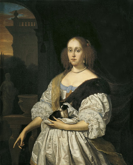 Frans van Mieris the Elder - Portrait of a Lady with a Lapdog, 1672