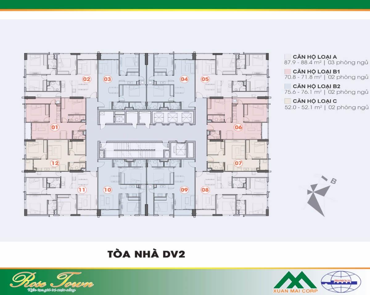 Mặt bằng điển hình căn hộ toà DV2 Rose Town