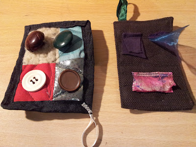 The other side of the 'cards', one with buttons, one with fabric tags