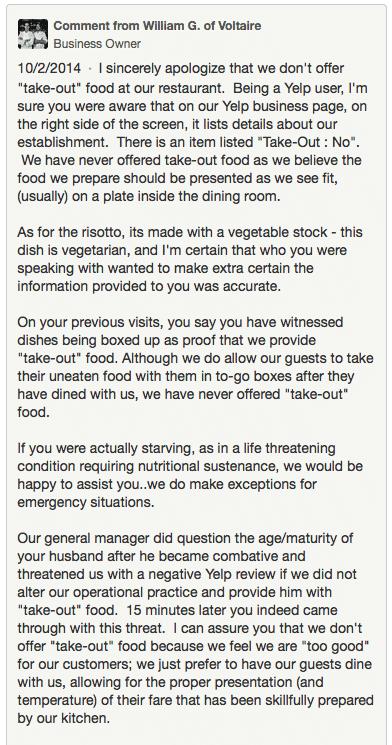 Hilarische reactie op negatieve review op Yelp