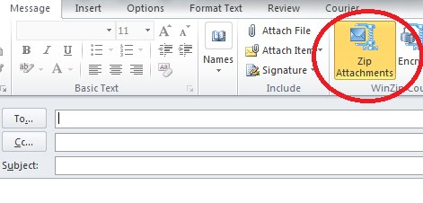 Turn off auto zip for outlook attachment