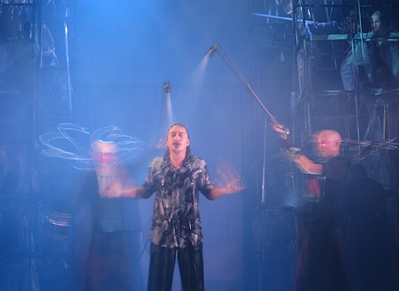King Lear in the storm scene in PETA Theater's production of 'Haring Lear'