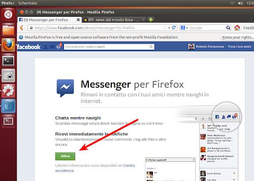 Facebook Messenger per Firefox - Attivazione