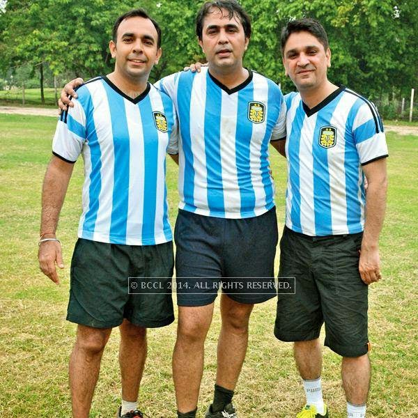 Mandeep, Pankaj and Vishal during a football match between Germany XI and Argentina XI in Lucknow.