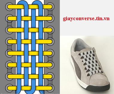 Cách buộc dây giày Converse kiểu đan dây