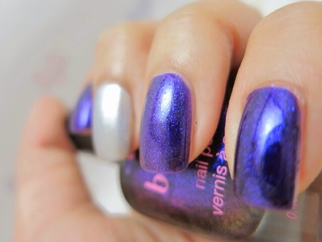 Love & Beauty - dark purple and  H&M - Metallic Grey Swatch