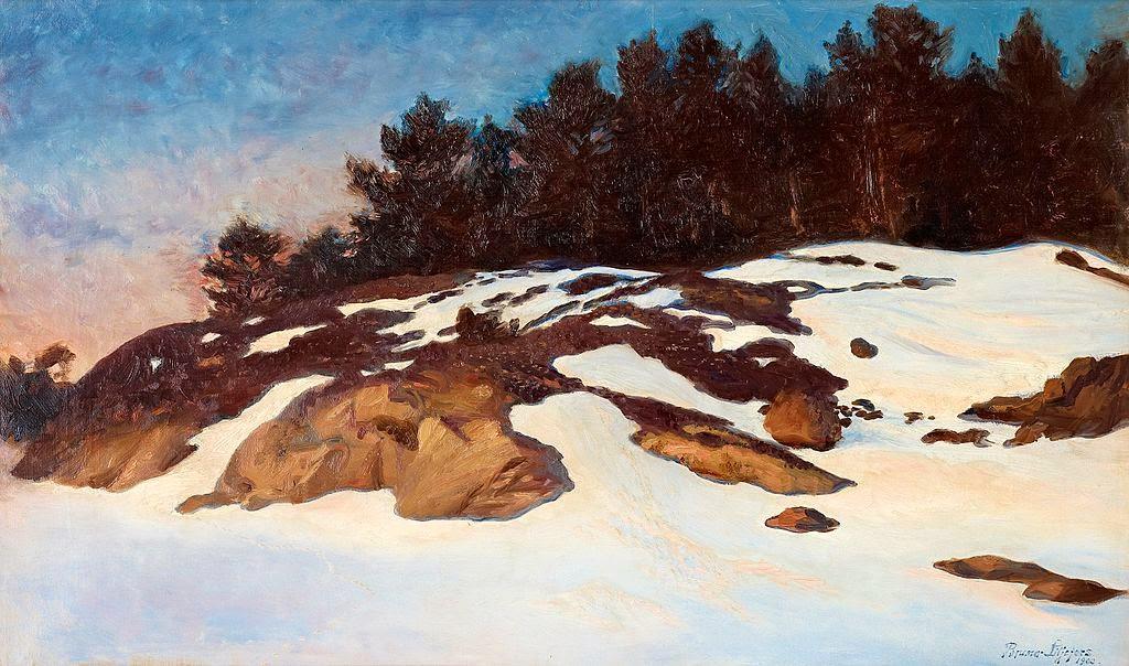 Bruno Liljefors - Winter landscape at dawn 1900