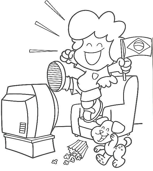 Dibujo De Nina Viendo Television Imagui