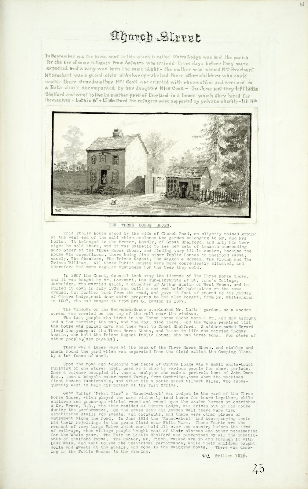 A Record of Shelford Parva by Fanny Wale P45  fo. 46, page 45: At the top: note on Cintra Lodge, used by refugees from Antwerp in 1915. A watercolour of the Three Horseshoes and small building nearby in Shelford by F.L.W. Underneath is a description of the public house 1916. [not in photographic copy]
