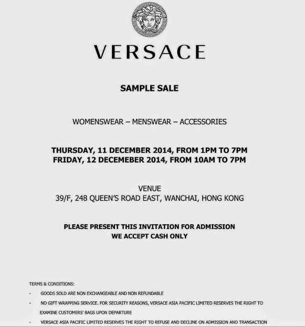 Sale Versace Versace Sample Sale
