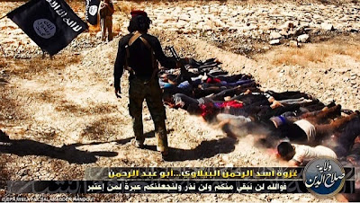 Iraqi prisoners of war mass murdered by Daesh (a.k.a. ISIS, ISIL; Islamic State; IS) war criminals on the basis of their Shiite identity