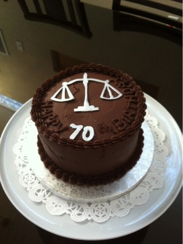 70th Birthday Cake Scales Of Justice For A Lawyer