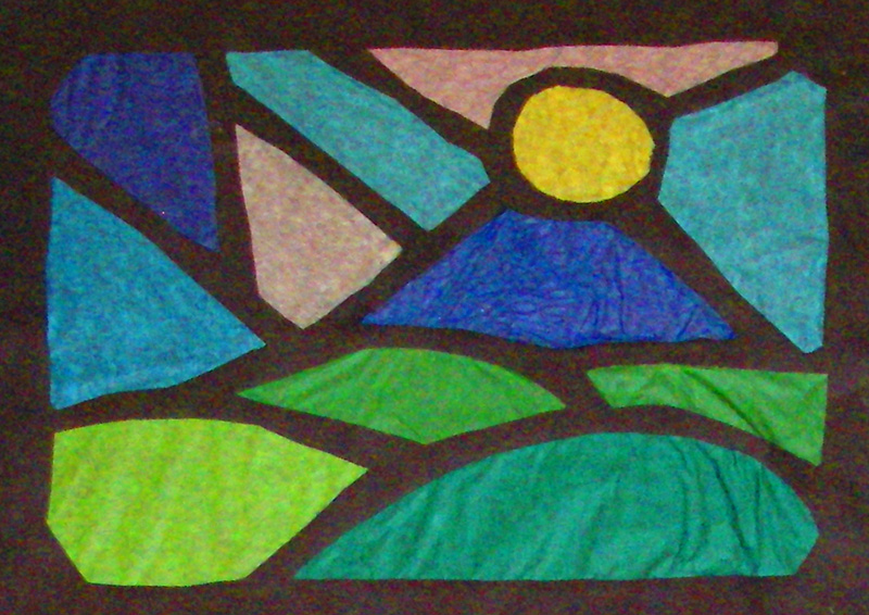 Allenella studio shop april projects at allenella for Stained glass window craft with tissue paper