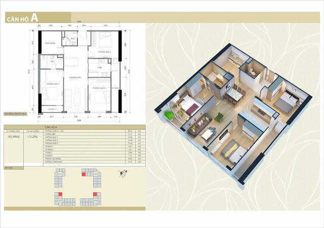 Thiết kế căn hộ 3 phòng ngủ, 2 vệ sinh, 1 phòng làm việc 106m2 thông thủy