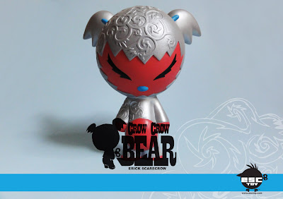 Crow Crow Bear Resin Figure Silver and Red Colorway by Erick Scarecrow