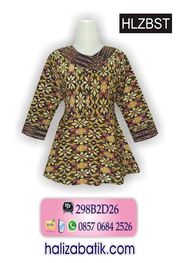 Blouse Batik Modern, Model Terbaru Baju Batik, Atasan Batik Wanita, HLZBST