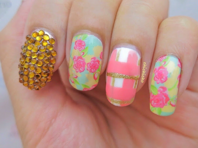 Country Floral Water Decal Nail Art