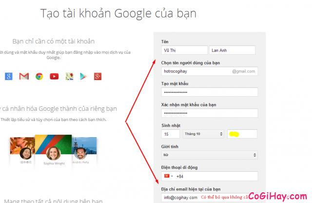 đăng ký gmail, lập tài khoản mail gmail 4