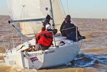 J/24 one-design sailboat- sailing off Buenos Aires, Argentina