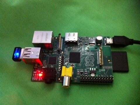 Photo of a Raspberry Pi running MTS under Hercules under Linux
