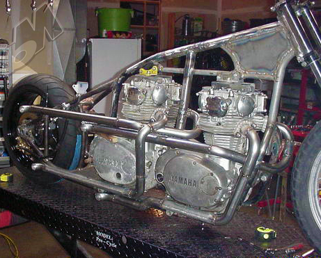 yamaha xs650 double-motor drag bike in progress and el