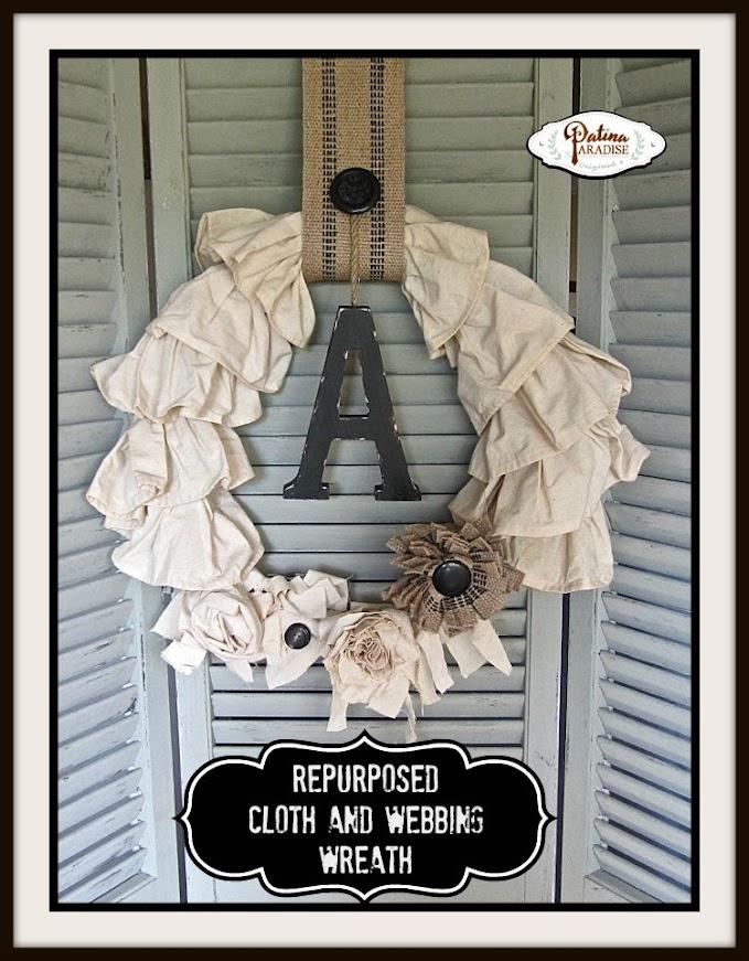 Repurposed Cloth and Webbing Wreath