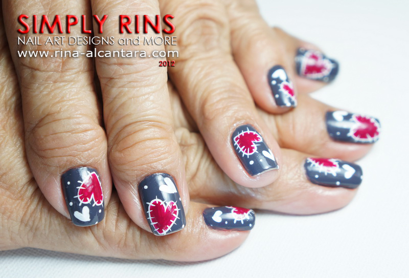 Heart Patches Nail Art Design