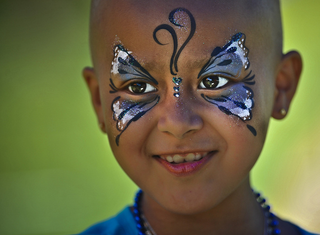 Butterfly girl with pediatric cancer