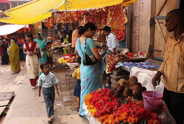 flower sellers outside the temple