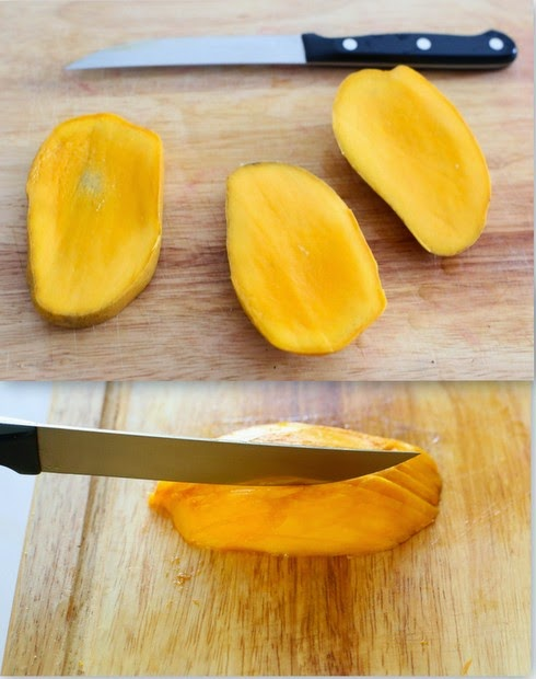 photo collage showing how to cut the mangos