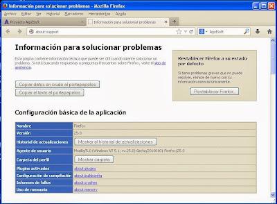 Restablecer configuración original Mozilla Firefox