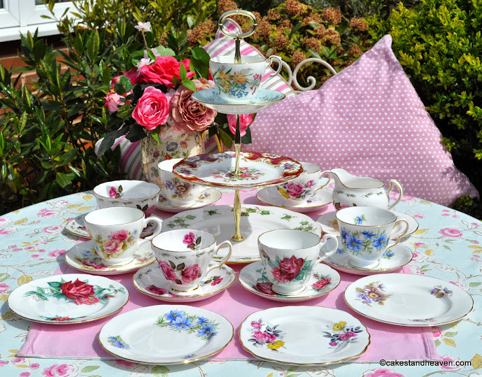 floral mismatched vintage tea set for six with teacup top cake stand