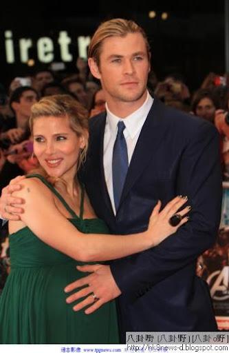「雷神索爾」克里斯漢斯沃與妻子艾爾莎帕塔基結婚兩年,喜獲一女。(圖/達志影像)