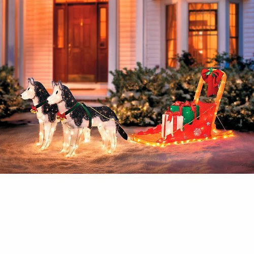 lighted christmas sleigh with 2 huskies improvements