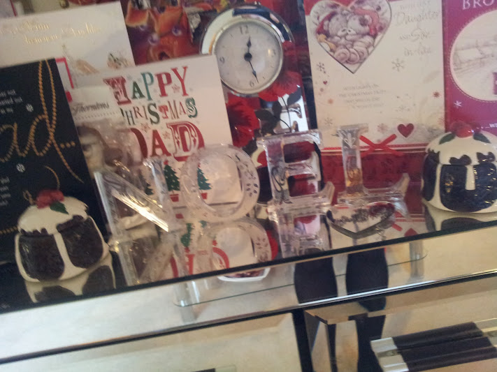 Christmas cards and decorations including glass NOEL decorations