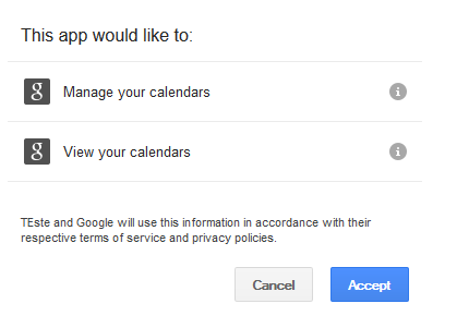Accept Google Calendar to web form