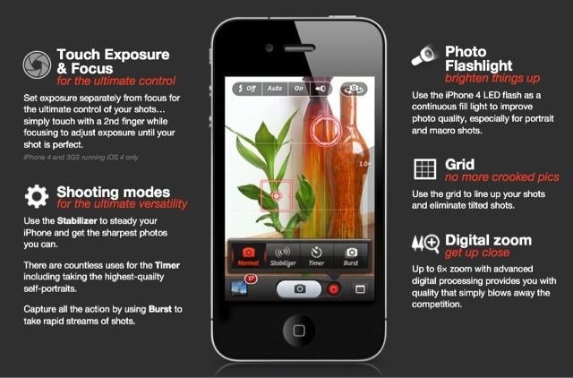 iPhone 4S Camera+ app