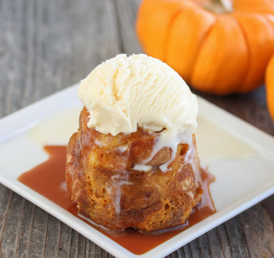 photo of  Pumpkin bread Pudding Mug Cake  topped with ice cream