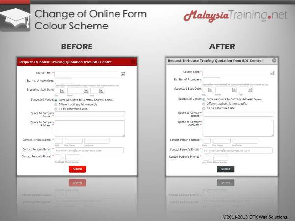 Change of Online Form Colour Scheme