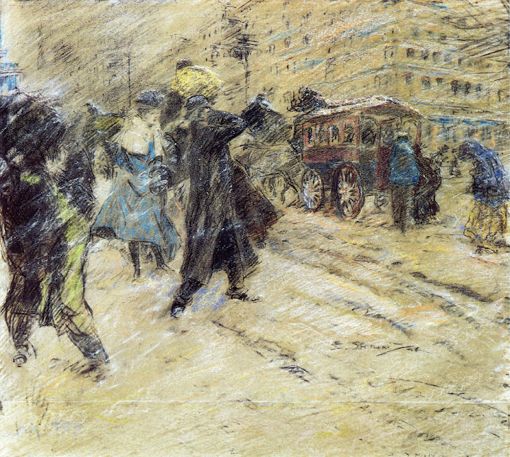 Everett Shinn - Snow Storm, Madison Square, New York