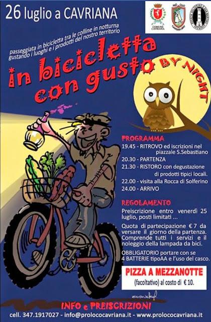 """biciclettata gastronomica """"in bicicletta con gusto"""" a Cavriana il 26 luglio"""
