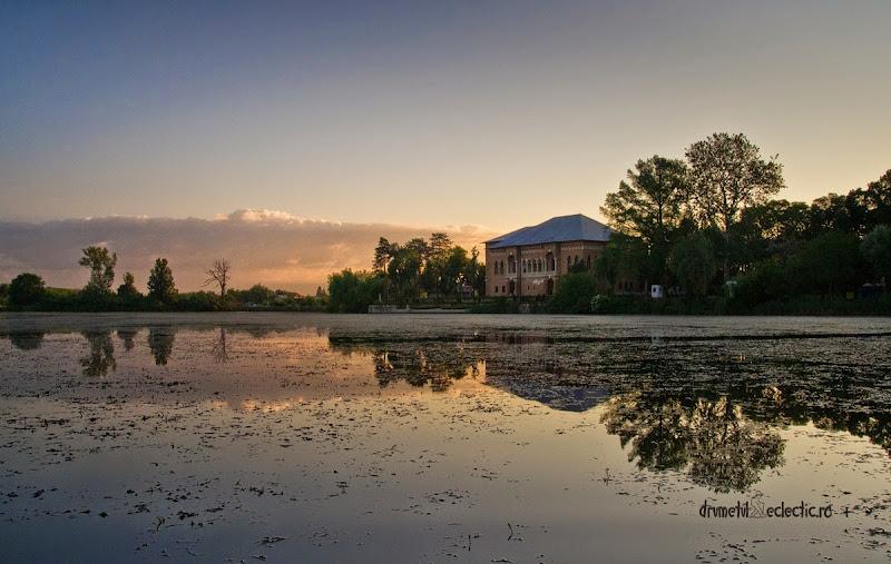 castel palat Brancoveanu stil brancovenesc arhitectura caiac natura stuf pasari case dimineata