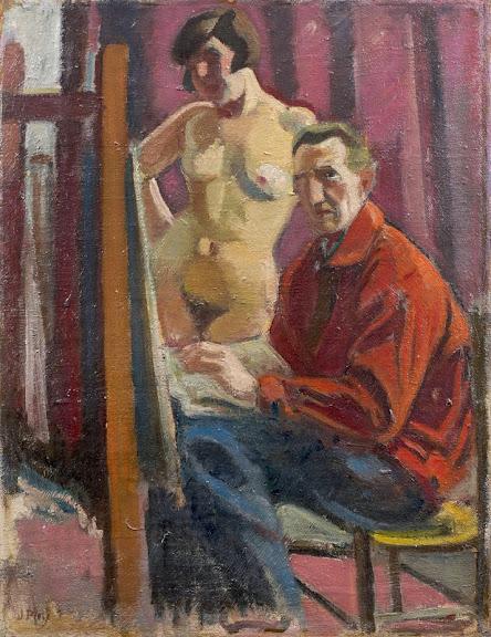 Jean Puy - Le Peintre et son modèle (Ginette Renaud), circa 1924
