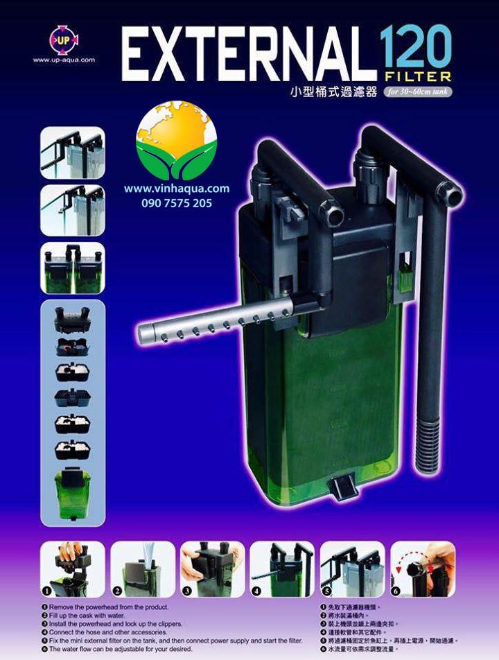 Phụ kiện thủy sinh - Lọc treo Up Aqua 120 thích hợp cho bể thủy sinh có chiều dài 30 - 60 cm
